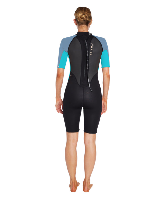 Womens Reactor II 2mm Spring Wetsuit - Black/Blue/Aqua