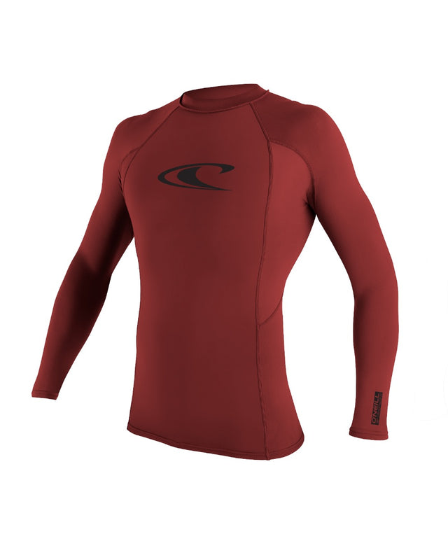 Basic Skins Long Sleeve Rash Vest - Dark Red