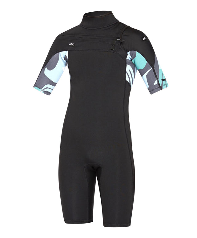 Kids Defender 2mm Short Arm Spring Suit Chest Zip Wetsuit - Black Baja