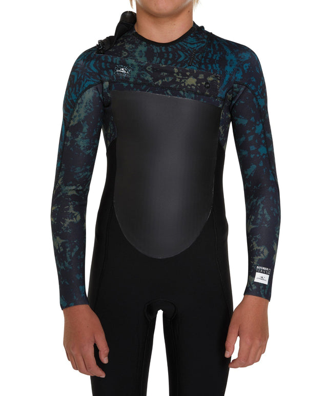 Defender 3/2mm Kids Steamer Chest Zip Wetsuit - Black Tie Dye