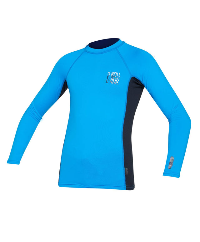 Kids Skins Long Sleeve Rash Vest - Brite Blue