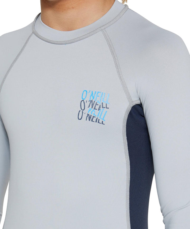 Kids Skins Long Sleeve Rash Vest - Cool Grey
