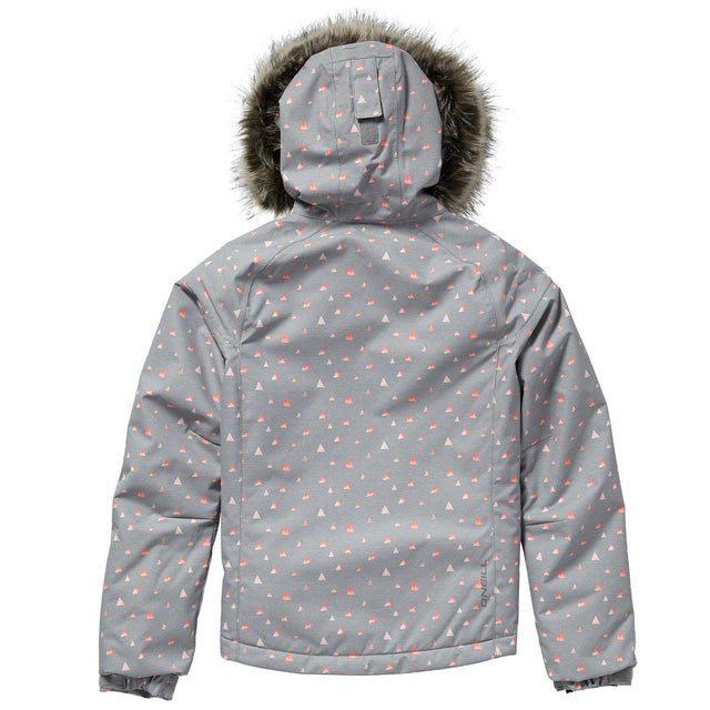 Curve Girls Snow Jacket - Grey Aop With Pink