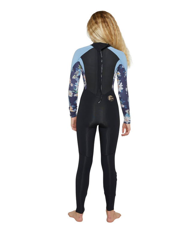 Girls Bahia 3/2mm Steamer Back Zip Wetsuit - Black / Daisy