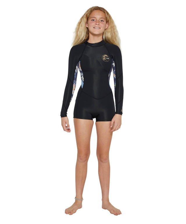 Girls Bahia 2mm Long Sleeve Spring Suit Wetsuit - Black
