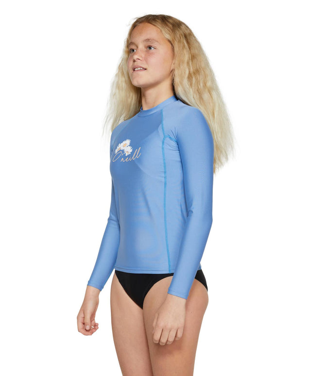 Girls Basic Skins Long Sleeve Rash Vest - Moonshine