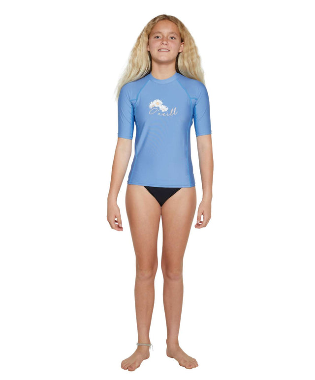 Girls Basic Skins Short Sleeve Rash Vest - Moonshine