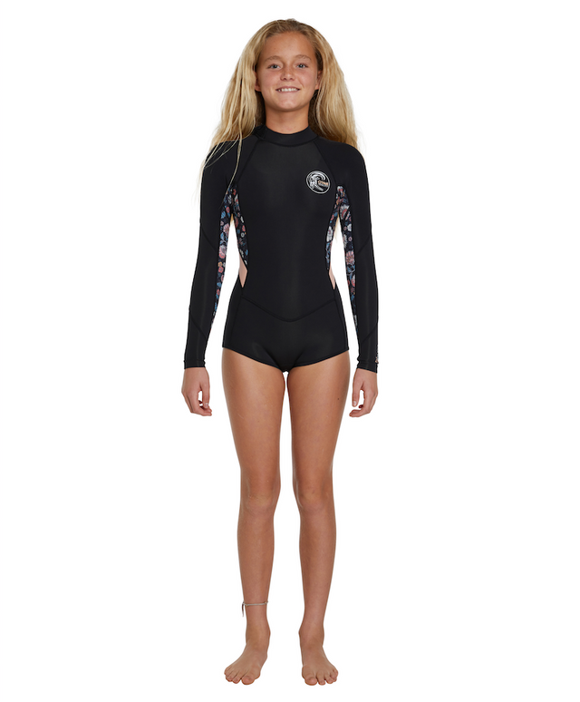 Girls Bahia Long Sleeve Springsuit Wetsuit 2mm - Black Floral