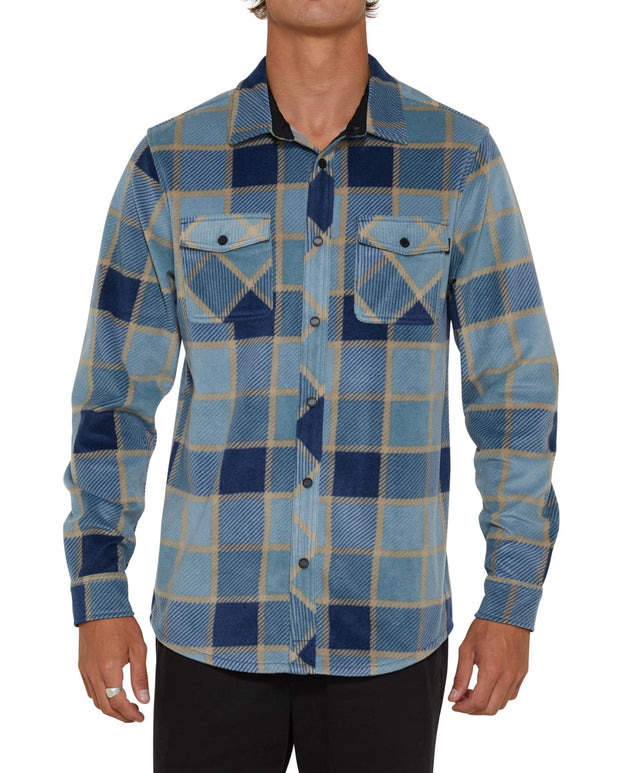 Glacier Plaid Long Sleeve Shirt - Navy