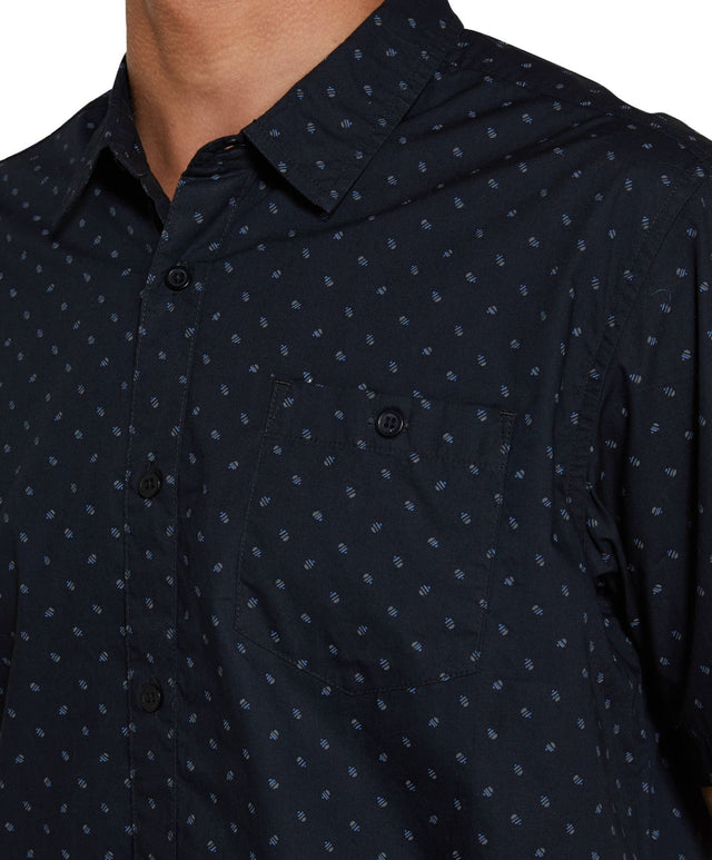 Microlinked Short Sleeve Shirt - Black