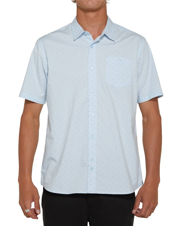 Microlinked Short Sleeve Shirt - Light Blue
