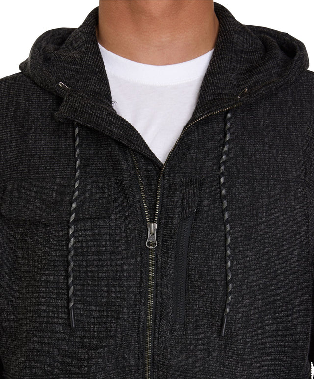Oakland Quilted Fleece Zip Hoodie - Charcoal