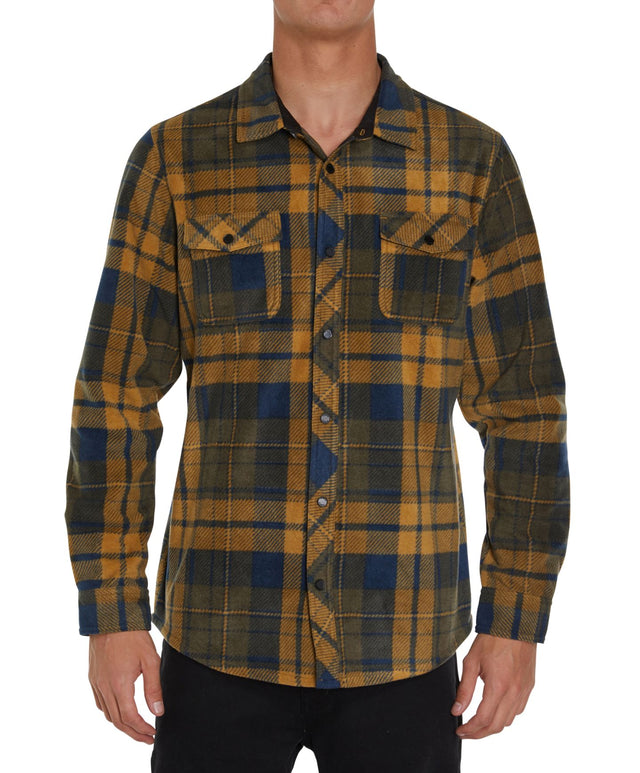 Glacier Plaid Long Sleeve Plaid Shirt - Navy