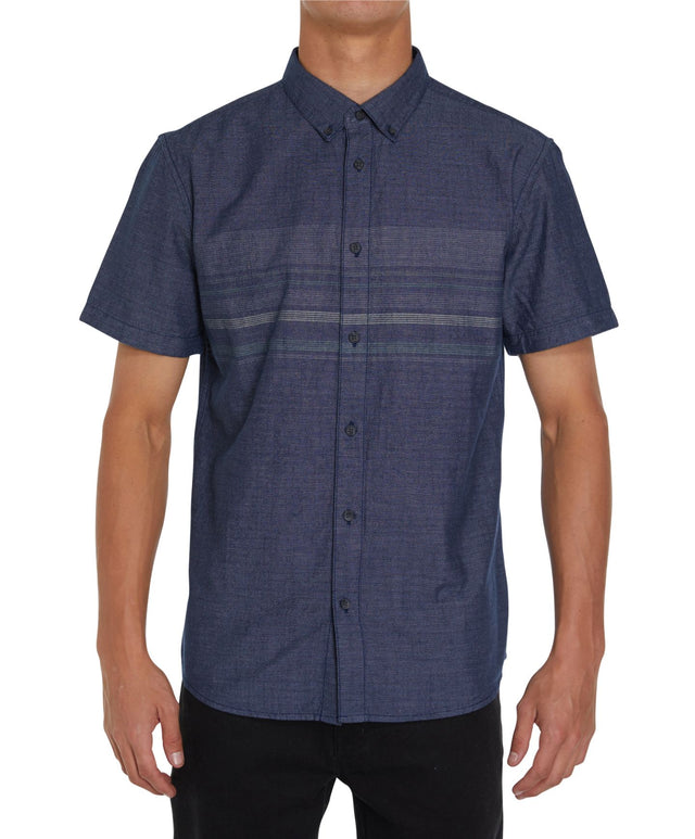 Factor Stripe Short Sleeve Shirt - Indigo