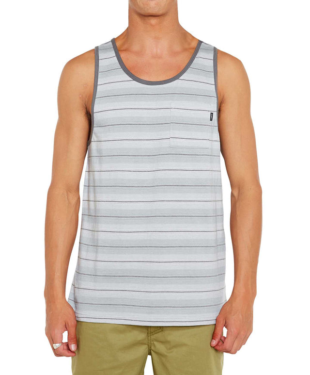 Pickled Stripe Singlet - Fog Grey