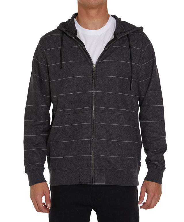 Whitechapel Stripe Zip Up Hoodie - Black
