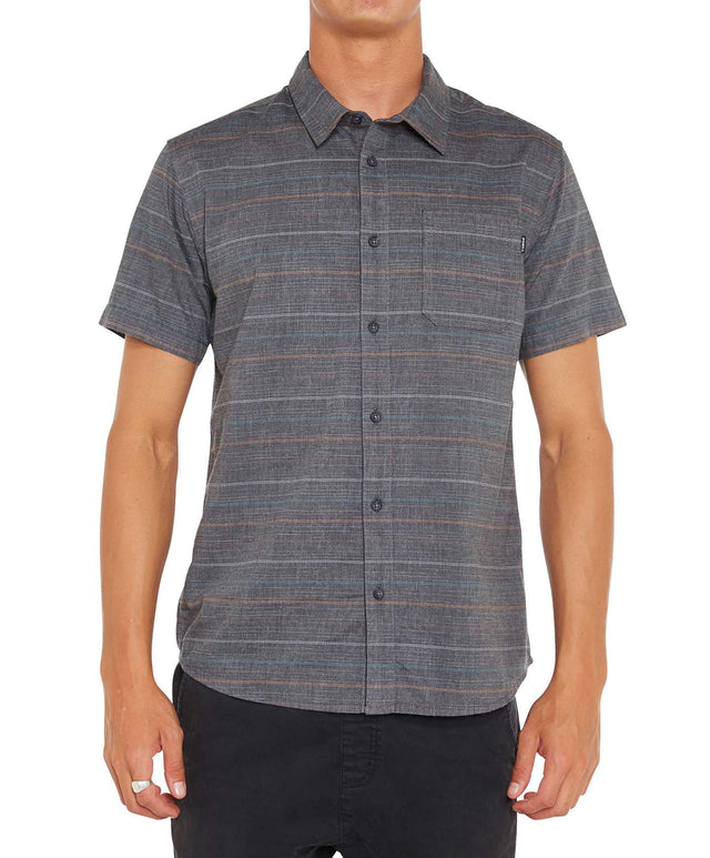 Brewster Stripe Short Sleeve Shirt - Asphalt