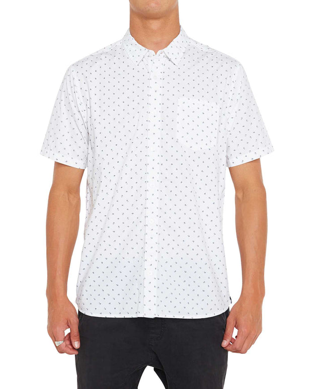 Microlinked Short Sleeve Shirt - White