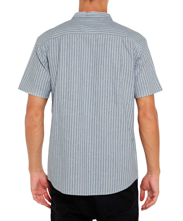 Theodore Stripe Short Sleeve Shirt - Light Grey