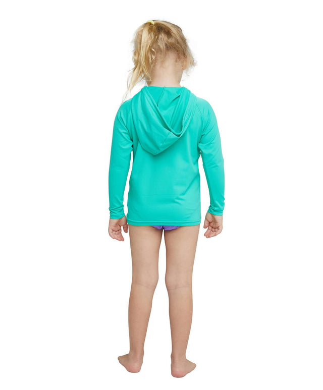 Toddler O'Zone Long Sleeve Sun Hoodie Rash Vest - Seaglass
