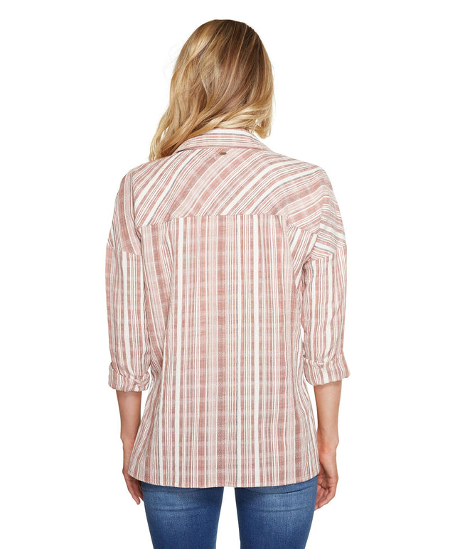 Arlow Stripe Shirt - Etruscan Red