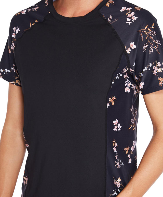 Coast Short Arm Loose Tee - Black Floral