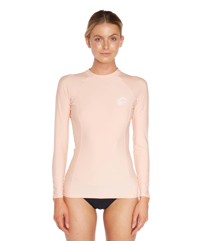 Womens Basic Skins Long Arm Crew - Peach Pink