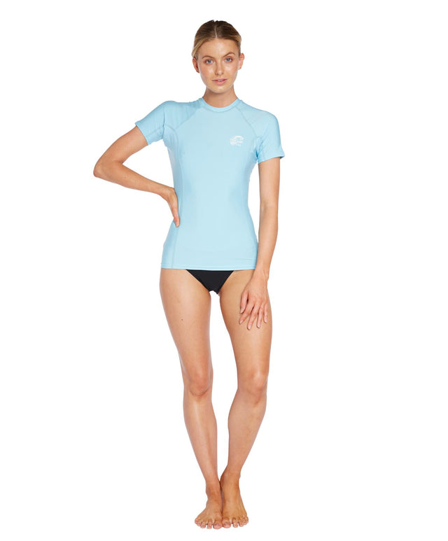 Womens Basic Skins Short Arm Crew - Petite Blue