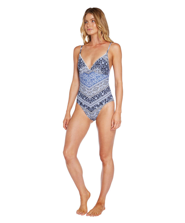 Finch One Piece Swimsuit - Blue Patchwork