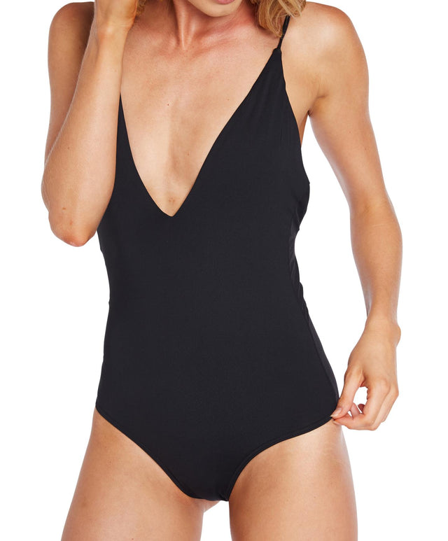 Saltwater Solids One Piece Swimsuit - Black