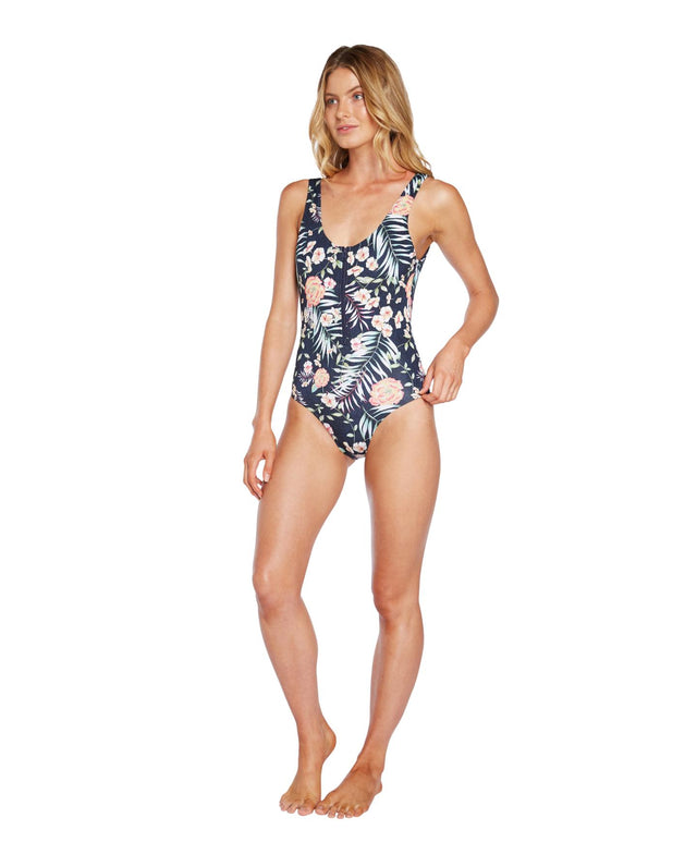Sunset One Piece Swimsuit - Denim Peony
