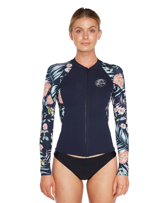 Bahia 1.5mm Full Zip Wetsuit Jacket - Abyss Denim Floral