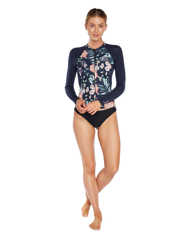 Bahia 1.5mm Full Zip Wetsuit Jacket - Denim Floral Abyss