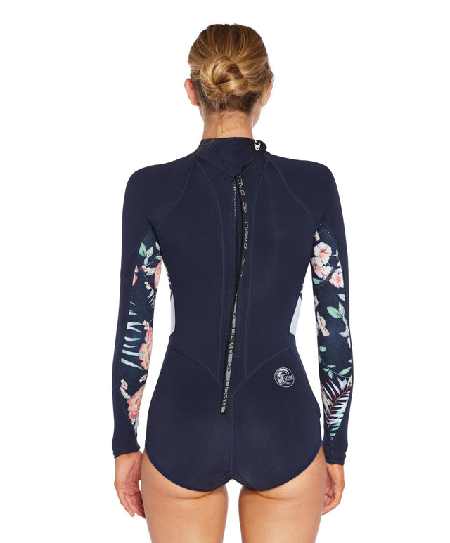 Bahia 2mm Long Arm Mid Spring Suit - Abyss Denim Floral