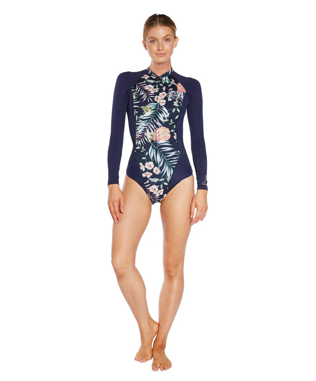 Bahia Neo Skins Long Arm Spring Suit - Denim Floral Abyss