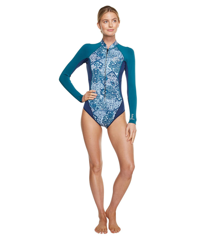 Womens Carly Long Sleeve 2mm Spring Wetsuit - Tealtile/Navy
