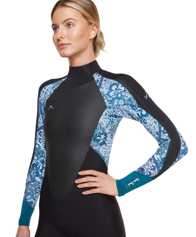 Womens Superfreak Back Zip 3/2mm Steamer Wetsuit - Black/Tealtile