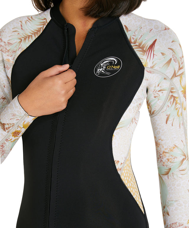 Womens Bahia 1.5mm Full Zip Wetsuit Jacket - Black/Tropical Leopard