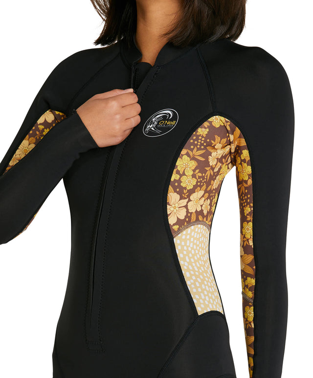 Womens Bahia 2mm Long Sleeve Cheeky Spring Suit Wetsuit - Black/Coffee Floral