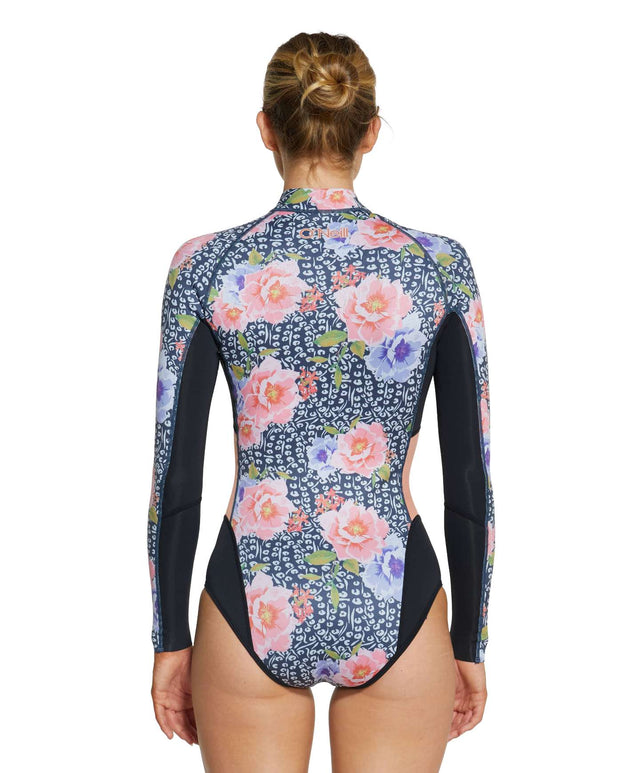Womens Bahia 2mm Long Sleeve Cheeky Spring Suit Wetsuit - Peony / Black