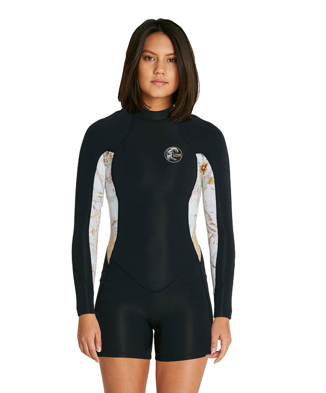 Womens Bahia 2mm Long Sleeve Long Spring Suit Wetsuit - Black/Tropical Leopard