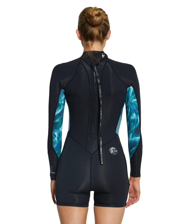 Womens Bahia 2mm Long Sleeve Long Spring Suit Wetsuit - Black / Aquaswirl