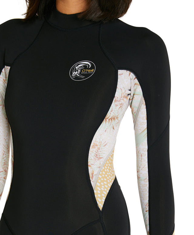 Womens Bahia 2mm Long Sleeve Mid Spring Suit Wetsuit - Black/Tropical Leopard