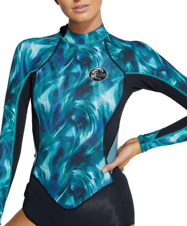 Womens Bahia 2mm Long Sleeve Mid Spring Suit Wetsuit - Black / Aquaswirl