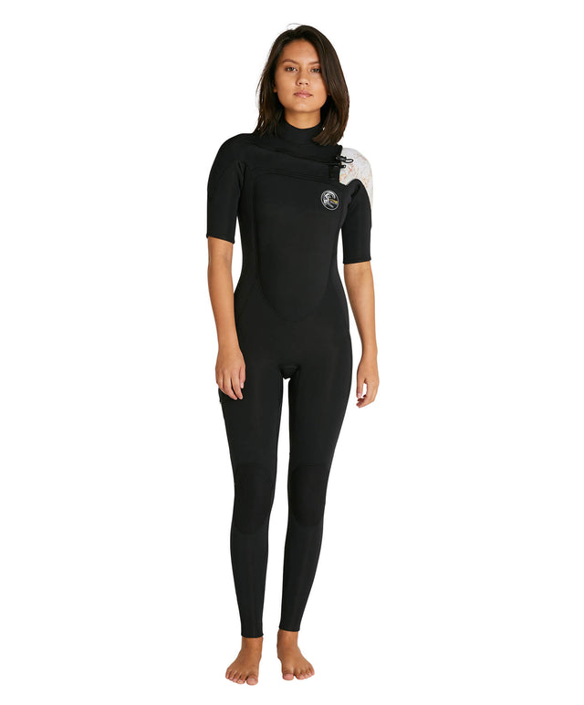 Womens Bahia 2mm Short Arm Steamer Wetsuit - Black/Tropical Leopard