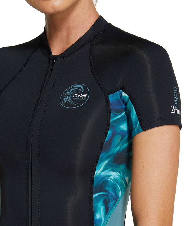 Womens Bahia 2mm Short Sleeve Spring Suit Wetsuit - Black / Aquaswirl