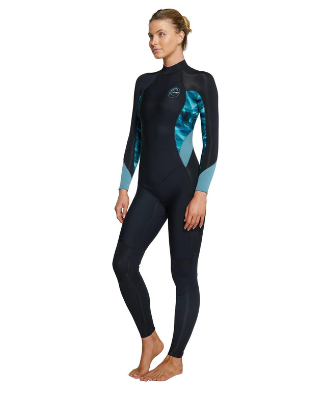 Womens Bahia 3/2mm Steamer Back Zip Wetsuit - Black / Aquaswirl