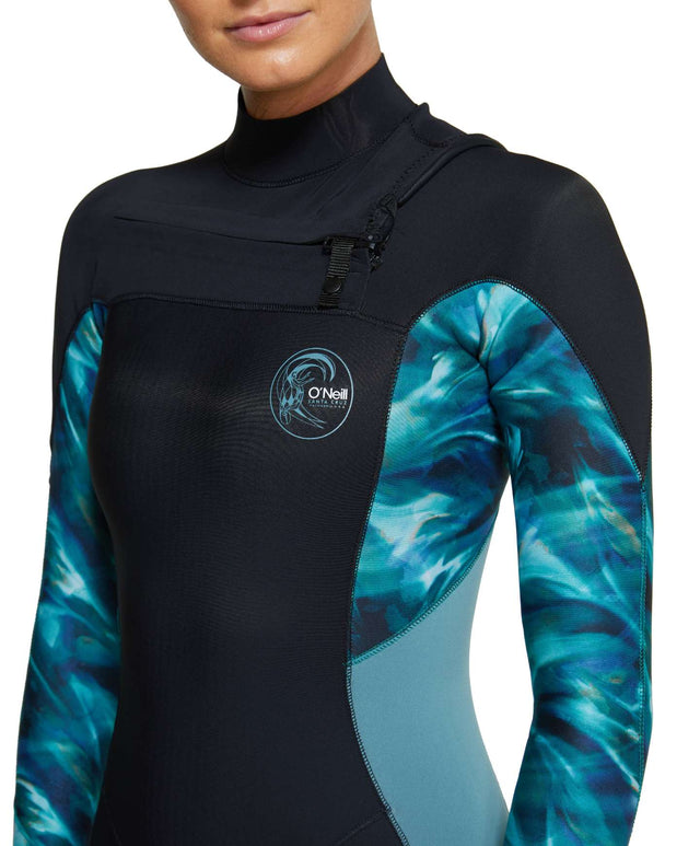 Womens Bahia 3/2mm Steamer Chest Zip Wetsuit - Black / Aquaswirl