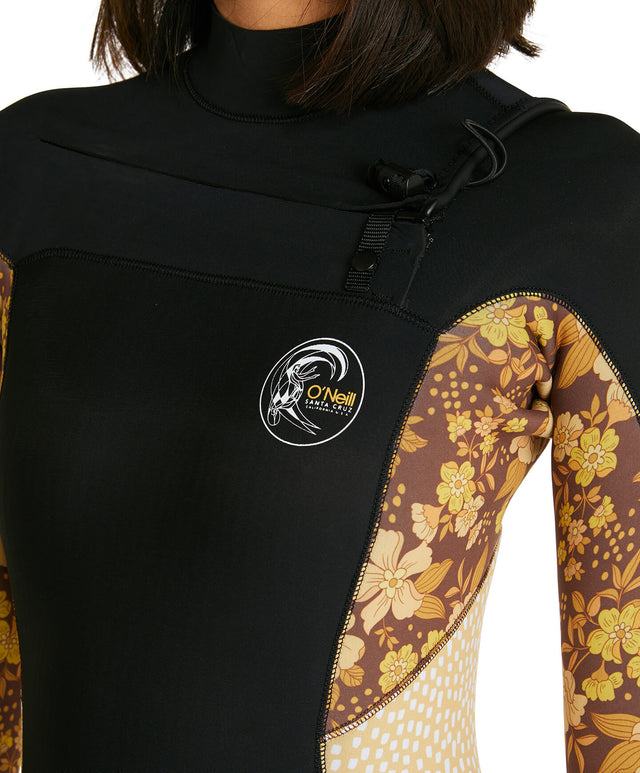 Womens Bahia 3/2mm Steamer Chest Zip Wetsuit - Black/Coffee Floral