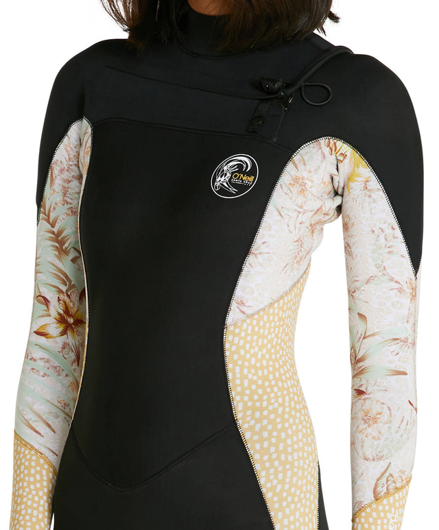 Womens Bahia 3/2mm Steamer Chest Zip Wetsuit - Black/Tropical Leopard